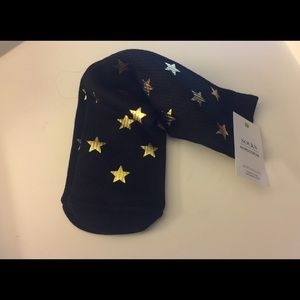 NORDSTROM GOLD FOIL STAR EMBELLISHED CREW SOCKS